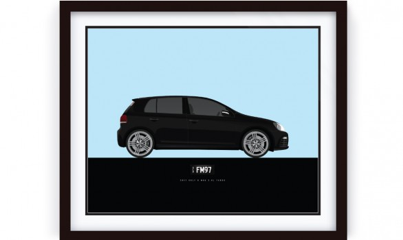 2011 GOLF R illustration, Framed