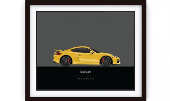 Framed Porsche CAYMAN GT4 illustration
