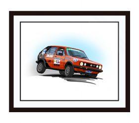 Framed VW Golf Rally Car Illustration