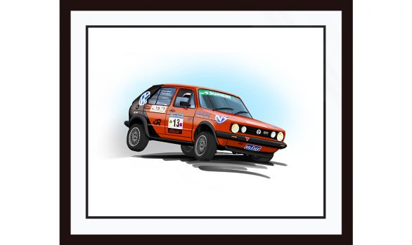 Framed VW Golf Rally Car Illustration