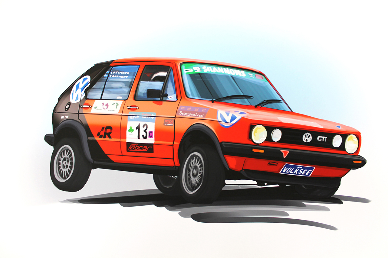 VW Golf Rally Car Illustration