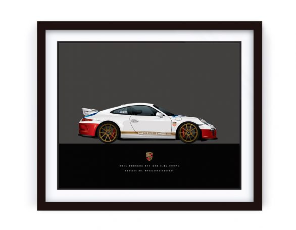 Framed illustration of 2015 Porsche 911 GT3 Mangus Walker Edition