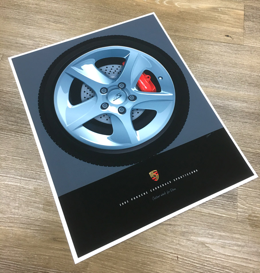 Porsche Wheel Illustration Sport Techno - Custom Made Illustration