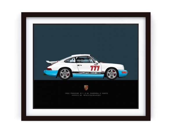 Framed 1992 Porsche Carrera 2 RS Illustration in Magnus Walker Livery