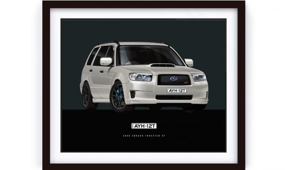 Subaru Forester illustrated and framed