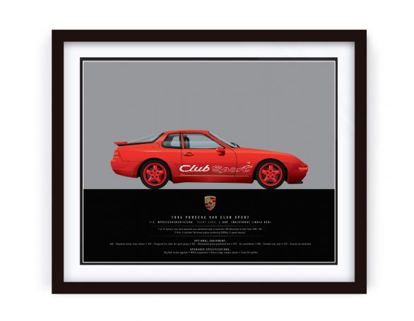 Porsche 968 CS Framed and Illustrated by www.1-of-1.com.au