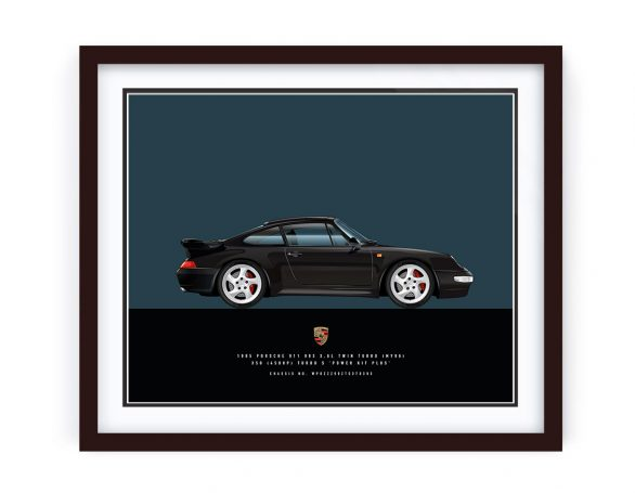 Framed Porsche 993 Turbo illustration by 1-of-1 Automotive Artworks