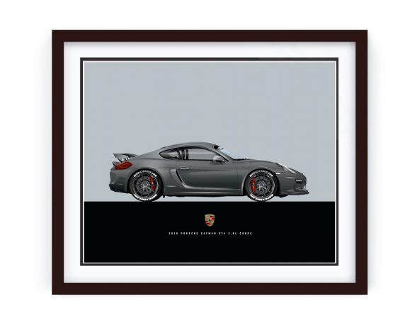 Custom Porsche Cayman GT4 Illustration - framed