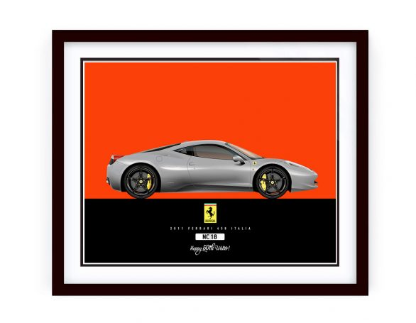 Ferrari_458 Italia Illustration framed