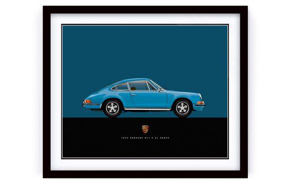 Custom illustration of a 1972 Porsche 911 Blue