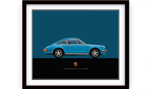 Custom illustration of a 1972 Porsche 911 Blue